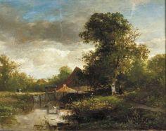 Willem Roelofs - Landschap met bomen en water (1855)