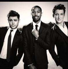 Zac Efron Michael B Jordan and Miles Teller. Just seen that awkward moment.