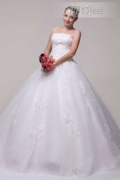 Glamorous A-Line Strapless Floor-Length Beading Lace Wedding Dress