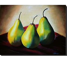 """""""Trio of Pears"""" 19 1/2 x 25 1/2 Pastel Painting  Pastels by Leslie Gustafson 