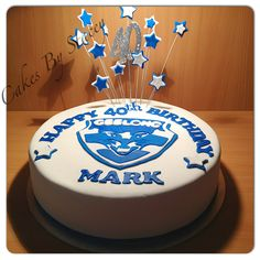 Geelong Themed Birthday Cake Made With Red Velvet And Buttercream Covered In Fondant