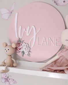 Our Lennon Grace 3D Name Plaques haven't even been online for two weeks yet and we already have an obvious favourite design that you guys are loving the most.⠀⠀ ⠀⠀ Looking at this gorgeous Pink Peonies design it is easy to see why 😍  Which has been your favourite design? 📸 credit @faith_laine featuring a 30cm 3D Name Plaque, Sophie Shelfie Bear, Isabelle Pink Linen Bunny & Fairy Magic Butterfly Wall Decals.