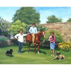 Family portrait oil painting, with horse and dogs.  Artist: Charlotte Partridge