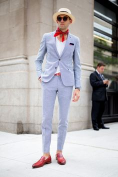 Browse the best street style looks from Men's Fashion Week Spring 2017 | blue suit, red accessories