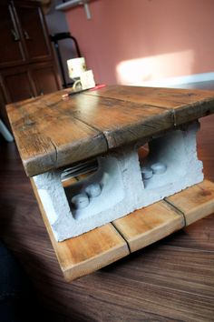 Reclaimed coffee table Cinder Lights by RongDesigns on Etsy, $619.00