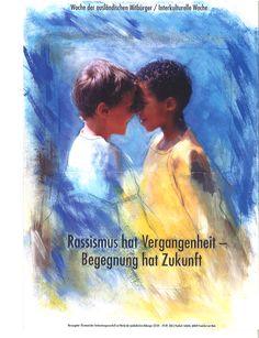 """2001/2002: Postkarte """"Zwei Kinder"""" zum Motto """"Rassismus erkenenn - Farbe bekennen"""""""
