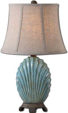 "Save on Uttermost 22""h Seashell 1-Light Table Lamp Heavily Crackled Blue 29321 29321 | LampsUSA"
