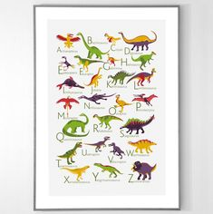 Dinosaurs Alphabet Poster from A to Z Dinosaur Alphabet, Stained Glass Art, Paper Toys, Cactus, Diy Projects, Nursery, In This Moment, Marvel, Handmade Gifts