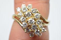Cluster Diamond Ring 14k Solid Yellow Gold Cocktail 1 01 Ct E F VS2 VS1 Size 5   eBay