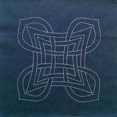 Picture of Aine, a brand new Celtic design by Scarlett Rose, preprinted on cotton fabric for Sashiko stitching.