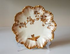 Limoges Hand Painted Plate by Alfred Lanternier, Antique, Impressed Anchor Mark Plate Retro Vintage, Vintage Items, Hand Painted Plates, Light Beige, Flower Art, Anchor, Porcelain, Antiques, Flowers