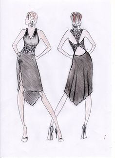 Sketch  tango dance dress to order, milonga, black with lace inserts, backless dress