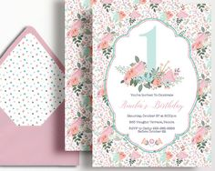 1st Birthday Invitation Girls Flowers Floral Pastel Pink Mint Peach Garden by WestminsterPaperCo