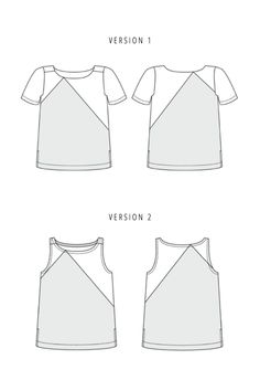 The Saltbox sewing pattern by Blueprints for Sewing is an asymmetrical tank top or tee shirt complete with side vents.