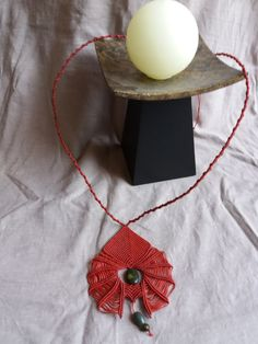 AtHena  RED micro macrame necklace AGATE by HeCateAccessories