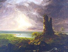 Ruined Tower by Thomas Cole - Hudson River School--Year 1 Landscape Art, Landscape Paintings, Hudson River School Paintings, Thomas Moran, Art History, Family History, Teaching Art, Famous Artists, American Artists