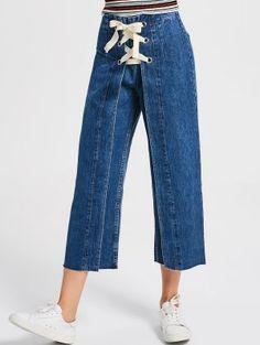 Lace Up Denim Wide Leg Jeans (Denim blue) Denim Top, Blue Ripped Jeans, Jeans Denim, Wide Leg Denim, Denim And Lace, Trouser Jeans, Jeans Dress, Blue Denim, Denim Fashion