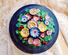 ART DECO China TUSCAN Trinket Box EMBOSSED Raised FLORAL Vintage STUNNING Trinket Boxes, Emboss, Art Deco, Plant, China, Floral, Vintage, Food, Florals
