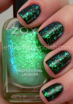 Zoya Opal over black base - glowing mani for Paty's days