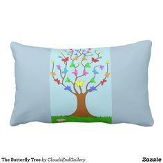 The Butterfly Tree Lumbar Pillow - pillows home decor diy cyo pillow design Butterfly Tree, Pillow Design, Custom Pillows, Lumbar Pillow, Knitted Fabric, Gifts For Kids, Your Design, The Neighbourhood, Baby Kids