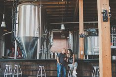 Brewery engagement photos