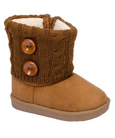 Tan Cable-Knit Double Button Boot