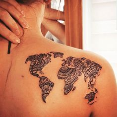 50 Shoulder Tattoo For Woman:Amazing Tribal Map Shoulder Tattoo