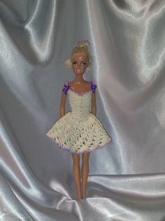 Crocheted Barbie Dress Fashion Doll Crocheted by GrandmasGalleria ☆