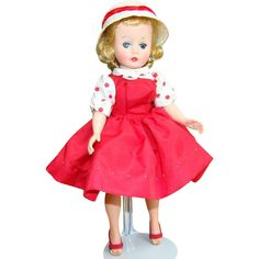 C1959 Cissette Doll in 910 Red Taffeta Jumper Dress Hat Madame from…