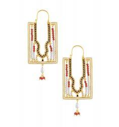Silver Enameled Multi Stone Earrings