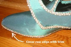 Costumer Loren Dearborn offers this tutorial for recovering modern shoes for 18th century versions.
