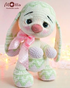 Milky Rabbit toy Amigurumi bunny Milky rabbit with light green jacquard Baby amigurumi bunny Crochet bunny and crochet toy for a child gift Bunny Crochet, Easter Crochet, Cute Crochet, Crochet Animals, Crochet Patterns Amigurumi, Amigurumi Doll, Crochet Dolls, Amigurumi Tutorial, Stuffed Toys Patterns