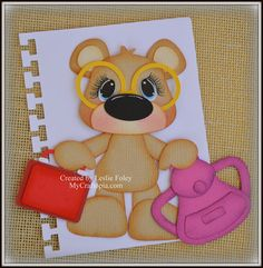 Items similar to Valentines Sitting Bear Premade Scrapbooking Embellishment Paper Piecing on Etsy Folder Decorado, Diy Paper, Paper Crafts, Teddy Toys, Paper Piecing Patterns, Paper Punch, Decorate Notebook, Foam Crafts, Collage