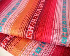 South American Fabric, Peruvian Fabric, Woven, Peach Pink Stripes, 1 Yard