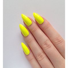 Neon Yellow Stiletto nails, Nail designs, Nail art, Nails, Stiletto... ($17) ❤ liked on Polyvore featuring beauty products, nail care, nail treatments, nails, nail art and yellow nail treatment