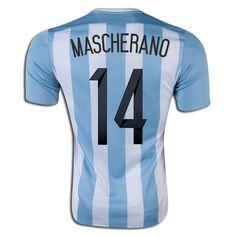 Javier Mascherano 14 2015 Copa America Argentina Home Soccer Jersey