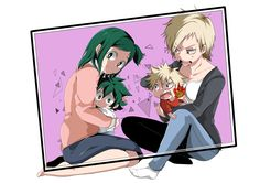 Boku no Hero Academia || My Hero Academia, Izuku and Katsuki with their moms