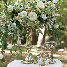 Fashion towering floral arrangements on top of this Mercury Glass Fairytale Compote. As part of our Fairytale Collection of compotes and vases, this tall piece has a wide dish at the top you can place a block of floral foam on and construct you Wedding Reception Flowers, Wedding Reception Decorations, Table Decorations, Wedding Ideas, Table Wedding, Wedding Crafts, Wedding Receptions, Wedding Stuff, Rustic Wedding Centerpieces