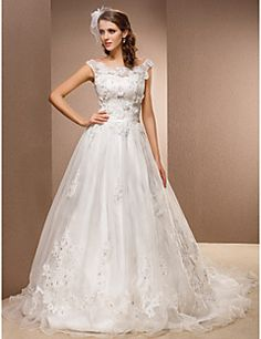 A-line Chapel Train Wedding Dress - Scoop Organza/Lace – USD $ 249.99