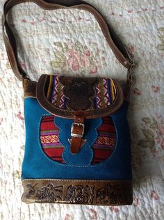Peruvian HandTooled Leather and Textile Handbag by flyingguineapig, $45.00