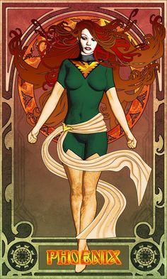 10 Superheroes in Art Nouveau Style