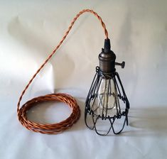 Vintage Style Caged Pendant by Iron Lumber &Light on Etsy Vintage Pendant Lighting, Rustic Chandelier, Pendant Chandelier, Chandeliers, Style Retro, Style Vintage, Vintage Fashion, Lamp Cord, Lamp Socket