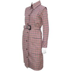 Futuristic 1960's Geoffrey Beene Brown Wool Plaid Coat Dress ($350) ❤ liked on Polyvore featuring dresses, wool dress, woolen dress, red tartan plaid dress, coat dress and tartan plaid dresses