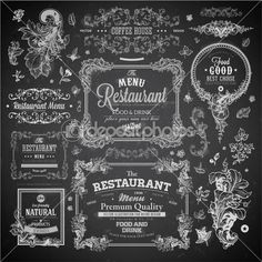 Retro set of labels for restaurant menu design. — Ilustración de stock #43227919