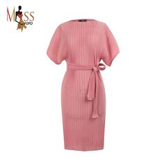 2016 new summer fashion Edgy casual dress women's pleated Midi dresses avantgarde Pleat Batwing short sleeves brief One Piece *** You can find more details by visiting the image link.