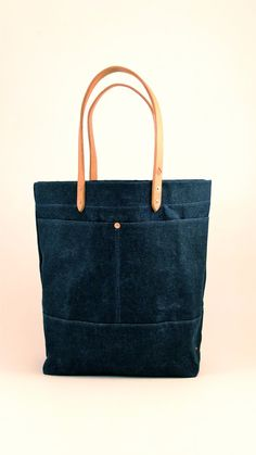 Waxed Denim Tote Bag with Leather Handles by RiegelGoodsCompany