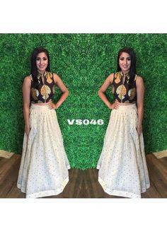 Bollywood Replica - Party Wear Chocolate Brown & White Crop Top Lehnega  - VS046