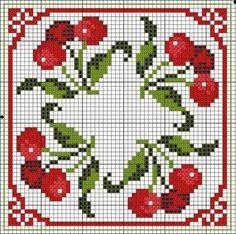 free cross stitch chart - I love cherries Biscornu Cross Stitch, Cross Stitch Fruit, Free Cross Stitch Charts, Cross Stitch Kitchen, Cute Cross Stitch, Cross Stitch Borders, Cross Stitch Flowers, Cross Stitch Designs, Cross Stitching