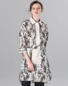 #AdoreWe #VIPme Blouses & Shirts❤️Designer POKWAI Multicolor Vintage Printed Linen Turtleneck 3/4 Length Sleeve Shirt - AdoreWe.com