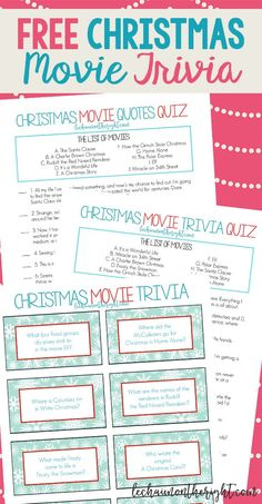 Get ready for a Christmas game night with the free printable Christmas movie trivia questions! They're great for a Christmas game night! Christmas Trivia For Kids, Free Christmas Movies, Christmas Movie Quotes, Printable Christmas Games, Christmas Movie Night, Christmas Party Games, Holiday Movie, A Christmas Story, Christmas Fun